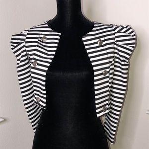 Jackets & Blazers - Black & White Stripe Blzer